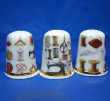 Birchcroft China Thimbles -- Set of Three -- Sewing Bits