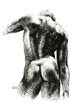 ORIGINAL INK DRAWING SKETCH MALE NUDE NAKED MEN'S BACK 3 B&W ART SIGNED ARTWORK