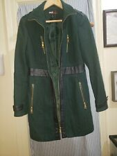 M60 Miss Sixty Sz M green Wool Coat with Faux Leather Trim
