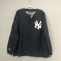 Vintage New York Yankees Majestic Snap Button Nylon Pullover Size Men's Large