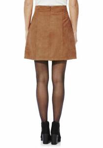 Womens Faux Suede A-Line Mini Skirt  Tan Size:12, 14, 18