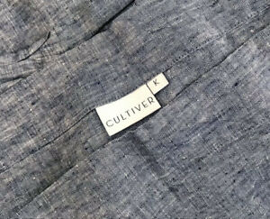 Sold Out CULTIVER Hard-to-Find Heather INDIGO Blue FLAT SHEET w/ Border KING NWT