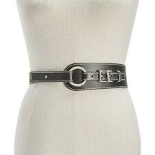 Michael Kors Double Buckle Waist Leather Belt, Black, L $78