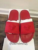 Men's VERSACE Palazzo Medusa Slide Sandals in Red sz 42
