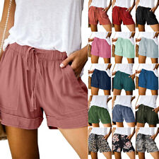 Womens Summer Drawstring Elastic Waist Shorts Lady Casual Sports Baggy Hot Pants