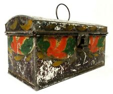 19Th C Antique American Hand Painted Decorated Tin Toleware Box W/Dome Lid/Latch