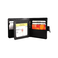 New Cenzoni Genuine Leather Black Wallet RFID Protected Bifold Tab Close Mens