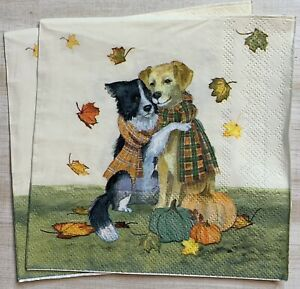"""TWO Individual Paper 5"""" Decoupage Napkins Fall Thanksgiving Dogs Leaves"""