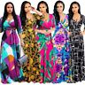 Plus Size Women's Boho Floral Strappy Dresses Ladies V-Neck Bodycon Maxi Dress