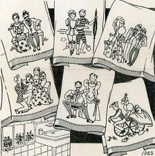 Vintage Embroidery transfer repo 1965 Naughty Nineties men women having fun 30s