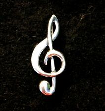New .925 Sterling Silver Treble Clef / Musical Note Brooch Pin FREE SHIPPING