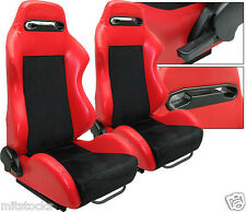 2 RED & BLACK RACING SEATS RECLINABLE + SLIDERS ALL PONTIAC NEW *