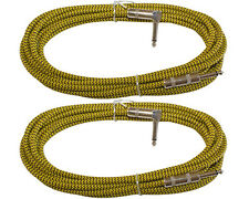 2 woven tweed cloth shielded 1/4 guitar bass keys patch cable 12 ft foot yellow