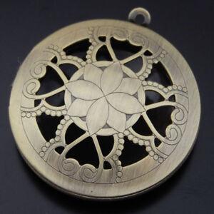Inner 25mm Bronze Alloy Magnetic Hollowed Flower Locket Prayer Box Pendant 4 pcs