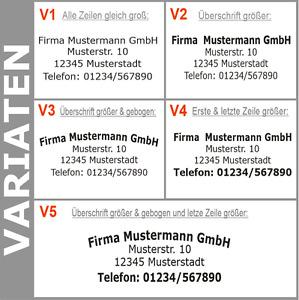 5. Zeilen Aufkleber Beschriftung 50-120cm Werbung Sticker Werbebeschriftung KfZ