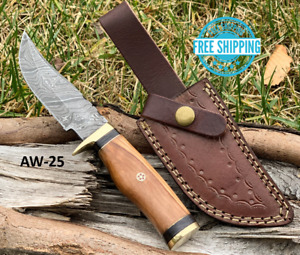 Custom HAND FORGED DAMASCUS STEEL HUNTING KNIFE Brown WOOD & Brass Guard Handle