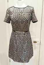 Oasis Metallic Gold Black Flock Dress Jaquard Embossed Party High Neck Size 10