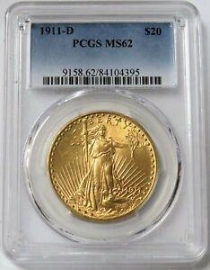 1911 D GOLD $20 SAINT GAUDENS COIN PCGS MINT STATE 62