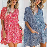 Womens Spotted Pocket Tunic Loose V Neck Summer Casual Beach  Holiday Mini Dress