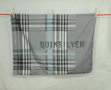 Quiksilver Silky Pillow Sham Cover Grey Blue Plaid Graffiti Style Logo