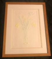 Original Art Leo P. Donahue Signed Framed Embossed Flowers Vase Numbered 94/250