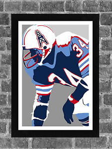 Houston Oilers Earl Campbell Portrait Sports Print Art 11x17