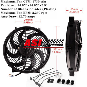 """14""""Inch 12V PULL PUSH RADIATOR ELECTRIC THERMO CURVED BLADE FAN KIT UNIVERSAL"""