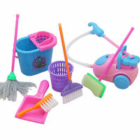 9pc Child Kids Cleaning Sweeping Play Set Mop Broom Brush Dustpan Childs Toy New