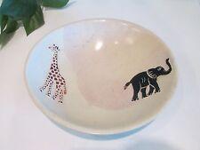 Kisii Carved Soap Stone Bowl Elephant & Giraffe~Kenya Africa