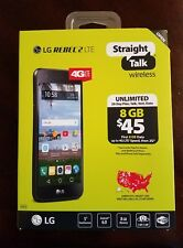 Straight Talk LG Rebel 2 4G LTE 8GB Prepaid L58VL Android Smartphone Black, New!