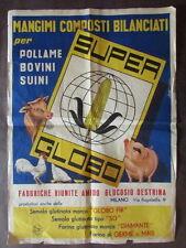 Manifesto Super Globo Mangimi Pollame Suini Bovini Allevamento 1955 Zanini