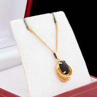 Antique Vintage Art Deco 12k Gold Filled GF Onyx Filigree Pendant Necklace 2.5g