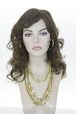 Light Chestnut Brown Brunette Long Human Hair  Monofilament Hand Tied Wavy  Wigs