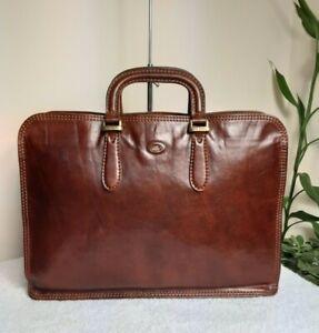 The Bridge Italian Leather Grab Bag Brown Work Business  Briefcase Handbag N53