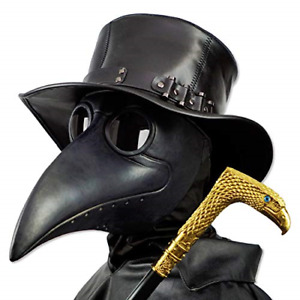 PartyHop Plague Doctor Mask, Black Bird Beak Steampunk Gas Costume, for Kid and