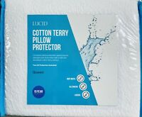 New LUCID Cotton Terry Zippered Pillow Protector Waterproof Queen Size Set Of 2