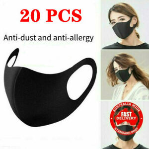20 PCS Adult Unisex Face Mask Mouth Cover Shield Air Pollution Washable Reusable