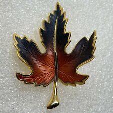 Vintage MAPLE LEAF BROOCH Pin Enamel Fall Gold Tone Costume Jewelry SALE