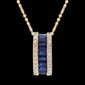 18K Rose Gold Over Fall in Love - Designer Diamond & Sapphire Pendant Necklace