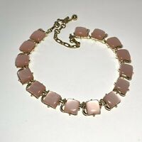 VINTAGE Signed CORO PINK Lucite THERMOSET Moonglow SQUARE LINK Necklace Choker
