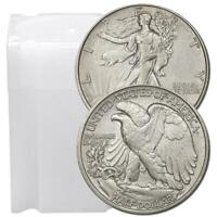 Roll of 20 $10 Face 90% Silver Walking Liberty Half Dollars XF to AU