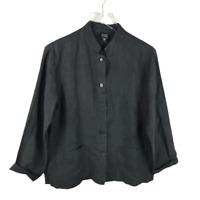 Eileen Fisher Womens Button Down Linen Blazer Jacket Size S Black Long Sleeve