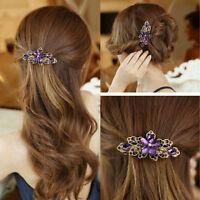 New Fashion Crystal Flower Rhinestone Hair Pins Hairpin Clip Barrette Women Lady
