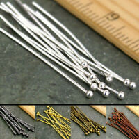 100PCS Silver Gold Plated Ball Head Pins Jewelry Finding 16/20/30/40/50mm