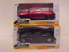 2 Pack 2014 Chevy Silverado Pickup Truck Diecast 1:24 Jada Toys 8in Black Rims
