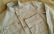 Louis Vuitton Men's Off White Linen Canvas Cafe Racer Moto Jacket EUR 50 M LV