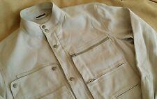 Louis Vuitton Men's Off White Linen Canvas Cafe Racer Moto Jacket EUR 50 M LV
