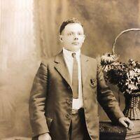 VTG RPPC Postcard Man Pinstripe Suit Old Antique Pen Skinny Tie Pin Pocket Pen