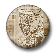 Comic Book Woman 1 Inch / 25mm Pin Button Badge Retro Vintage Blonde Free Chic