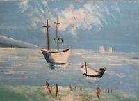 Vintage oil painting fauvist seascape boats
